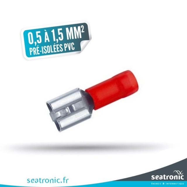 10 cosses pré-isolées renforcées PVC rouge 0,5 à 1,5 mm² femelle 6,3 x 0,8
