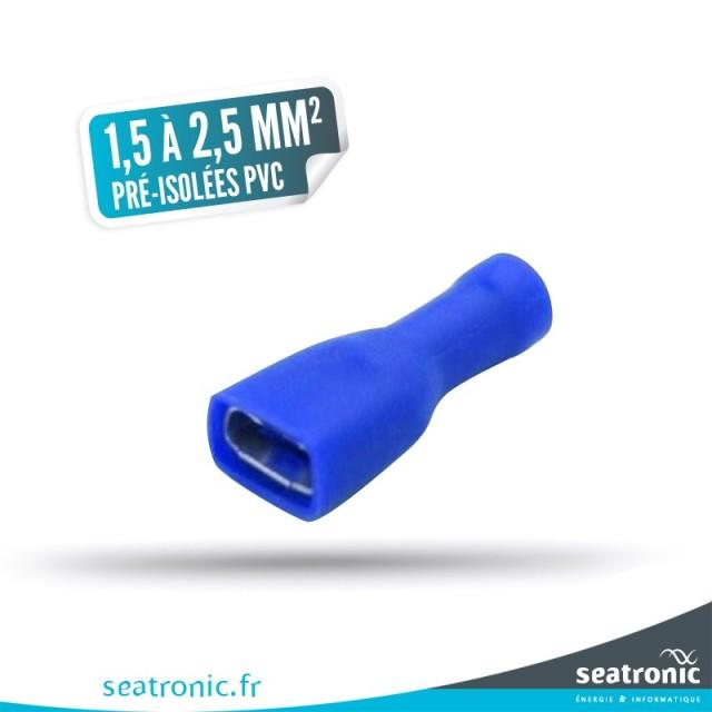 10 cosses pré-isolées renforcées PVC bleue 1,5 à 2,5 mm² femelle 6,3 x 0,8