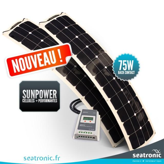 Kit solaire bimini 150 watts (2 x 75 watts) back contact MPPT