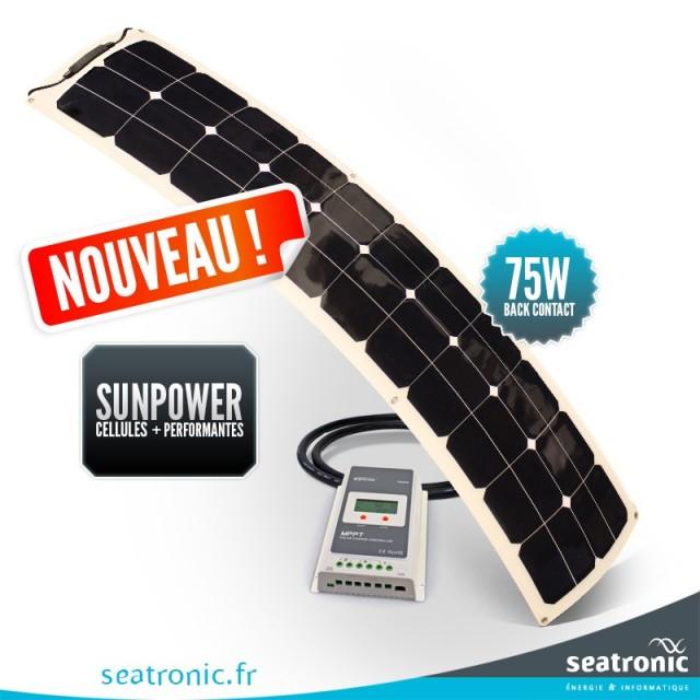 Kit solaire bimini 75 watts (unique) back contact MPPT
