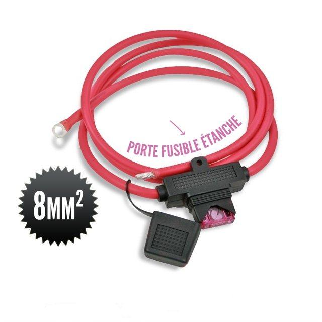 Cable 8mm² rouge pour régulateur solaire avec fusible 80A étanche