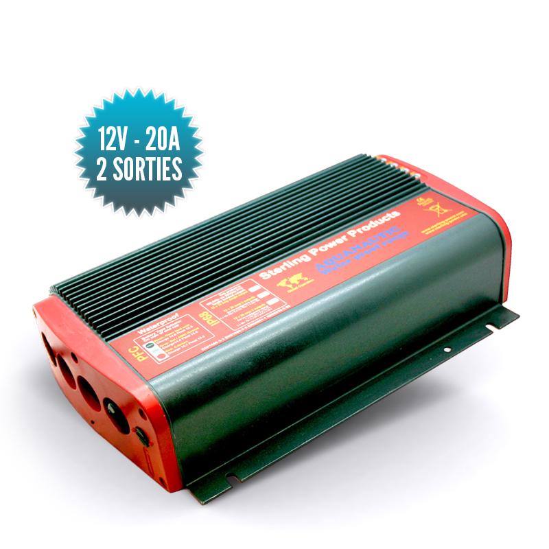 Chargeur étanche IP68Pro Sport 12V/20A deux sorties ou 24V/10A