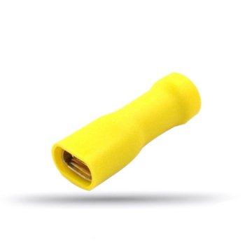 20 cosses  femelles plates isolées jaunes câble 4 à 6 mm² épaisseur 0.8 mm