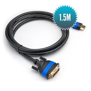 Câble HDMI 2.0 - DVI 1.5m Câble 24+1 grande vitesse (1080p Full HD 3D)