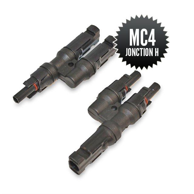 Pair of MC4 H-junction connectors (1M-2F + 2M-1F)