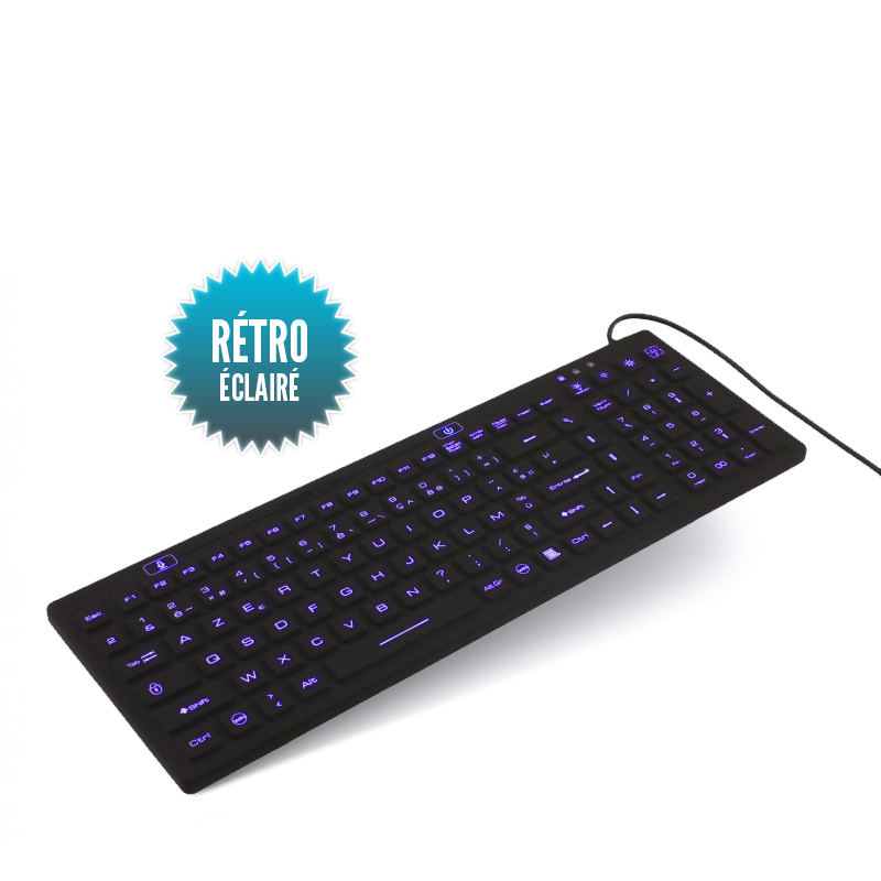 Back-lit USB waterproof rigid wired keyboard