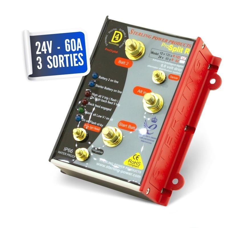 Lossless distributor 24V/60A three PRO SPLIT outputs