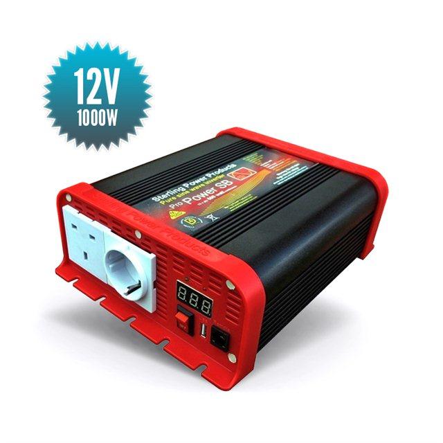 Pure sinus converter 12V / 1000 Watts Sterling Power