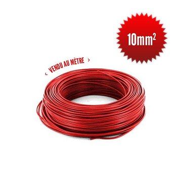 Fil monoconducteur H07 V-K 10mm² rouge au mètre