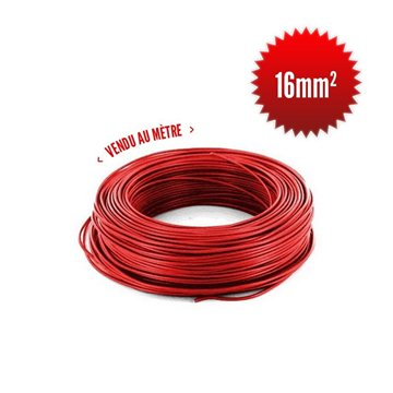 Fil monoconducteur H07 V-K 16mm² rouge au mètre