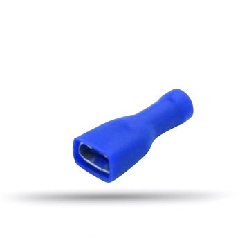 20 blue insulated flat female cable lugs 1.5 to 2.5 mm² thickness 0.8 mm