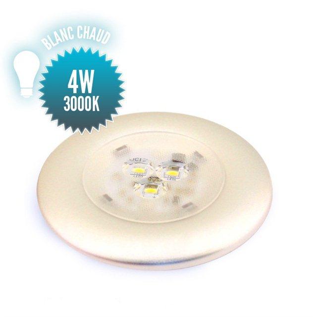 Spot argent 4W à LEDs SMD SANS interrupteur blanc chaud 3000K (10 à 30Volts)