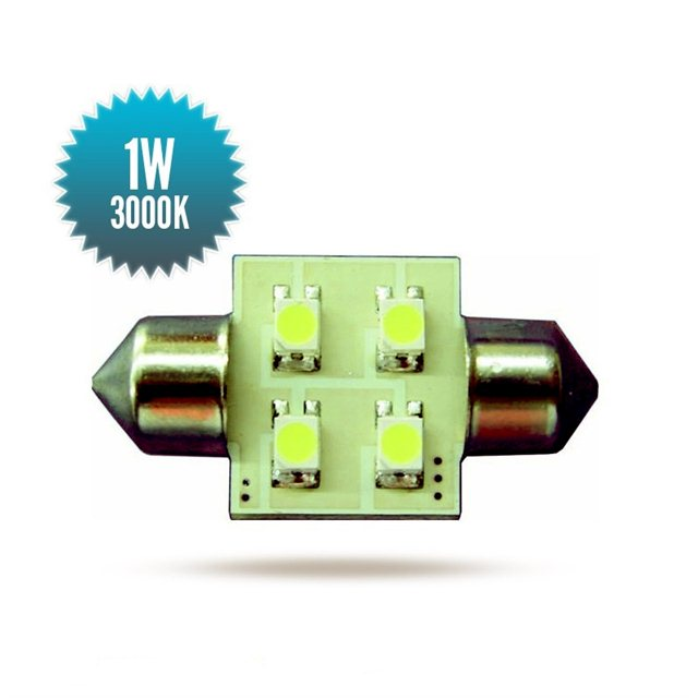 Shuttle Bulb 8-30Vdc 1,0W 3000K 31x16mm 60lm 60lm 4 SMD