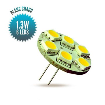 G4 warm white bulb, 6 leds perpendicular