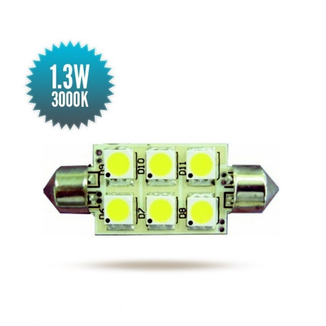 Shuttle Bulb 8-30Vdc 1,0W 3000K 42x16mm 84lm 84lm 6 SMD