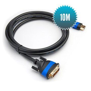 Câble HDMI 2.0 - DVI 10m Câble 24+1 grande vitesse (1080p Full HD 3D)
