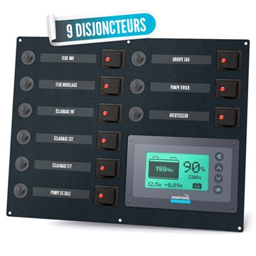 Two-pole electrical panel with 9 circuit-breakers and battery manager