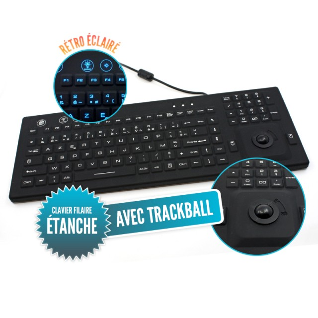 Rigid waterproof IP68 wired illuminated keyboard with integrated trackball