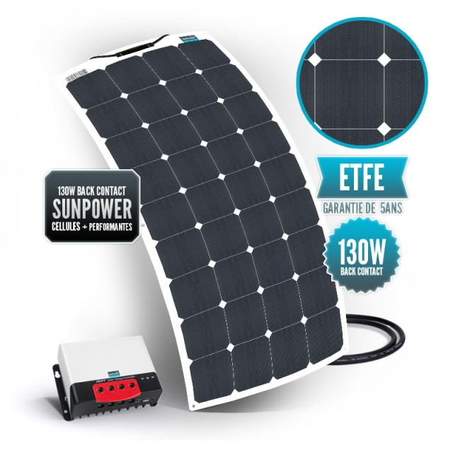 Kit solaire bimini 130 watts (unique) back contact MPPT