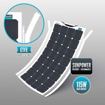 Panneau souple Sunpower 115 W ETFE fermeture YKK intégrée