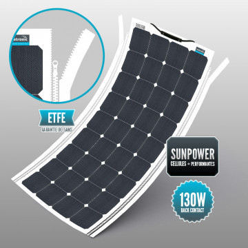 Sunpower 130 W ETFE soft panel with integrated zipper