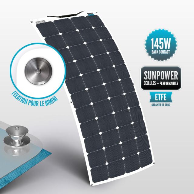 Panneau Sunpower flexible ETFE 145 W avec la fixation Tenaxx pour le bimini