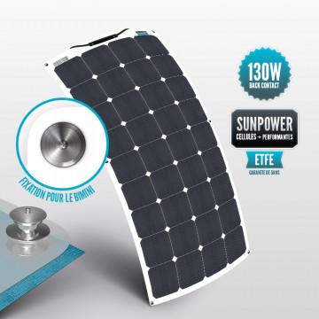 Sunpower flexible ETFE 130 W panel with Tenaxx bimini fastening