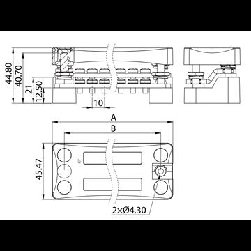 Bornier de raccordement à vis 16 plots à deux étages