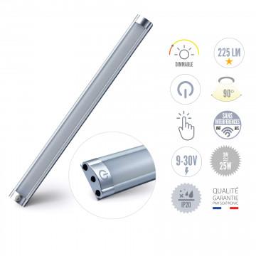 Réglette à LED 3W avec interrupteur et variateur, sortie côté des câbles