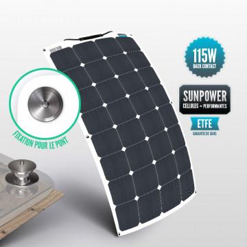 Panneau Sunpower flexible ETFE 115 W avec la fixation Tenax pour le pont